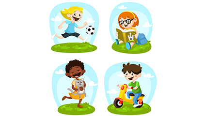4 Vector cartoon play children