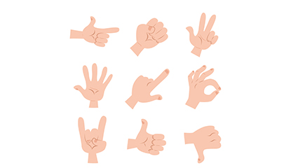 9 Cartoon gesture vector material