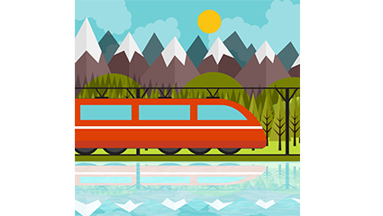Beautiful scenery along the train and vector material