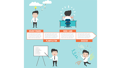 4 Steps to Success business man vector illustration