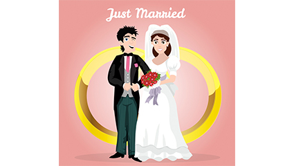 Gold rings and the bride and groom vector material
