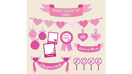 9 pink valentine ornament vector
