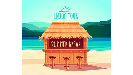 Summer beach cottages posters vector material