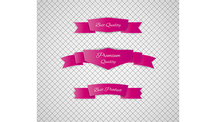 3 Rose red promotional ribbon vector material