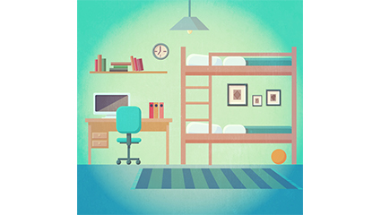 Creative double bedroom design vector material