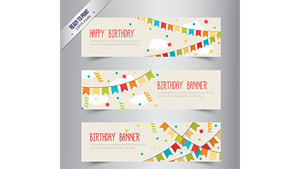 3 cute birthday banner vector