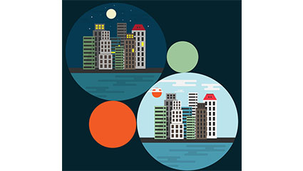 City building day and night vector