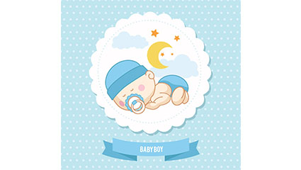 Cute baby greeting card tag vector material