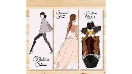 3 Fashion girl banner vector material