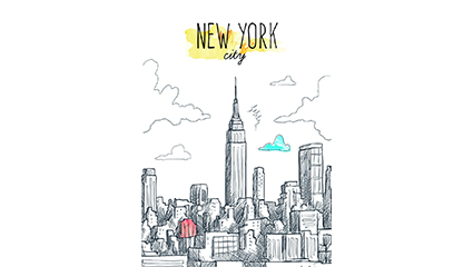 Creative Hand-painted New York City buildings vector