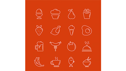16 models of creative food icon vector material