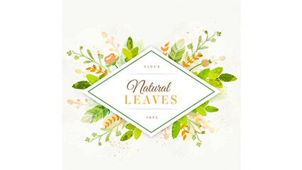 Fresh leaves decorative label vector material