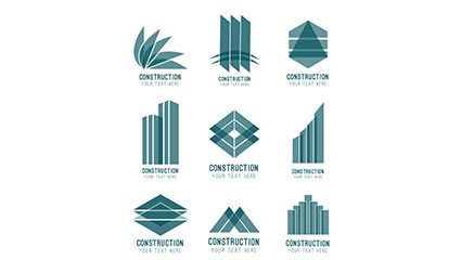 9 abstract construction signs vector material