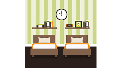Simple bedroom design vector material