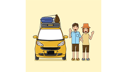 Creative couple traveling by car vector material