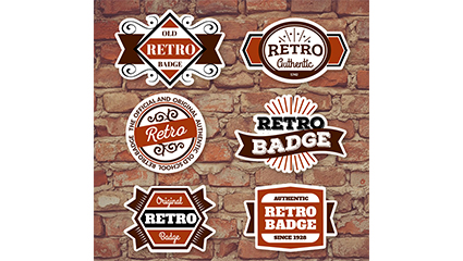 6 retro fashion label design vector