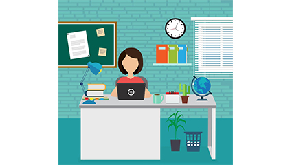Creative office girl vector material