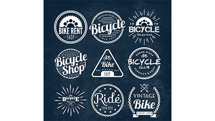 9 Creative bicycle shop badges vector material