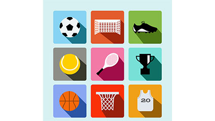 9 exquisite sports icon vector material elements