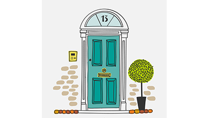 Creative Painted door illustrator vector material