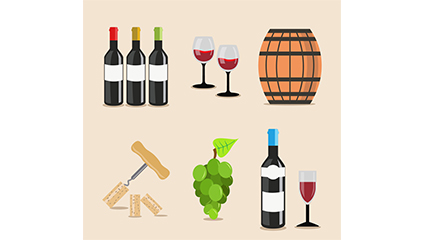 6 wines element vector material