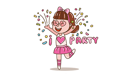 Cute party girl vector material