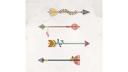 4 creative arrow design vector material