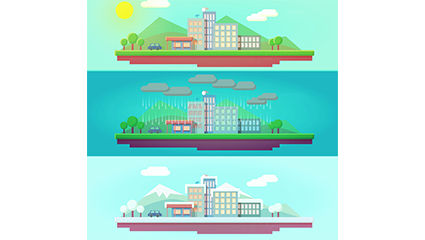 City banner vector material 3 kinds of weather conditions