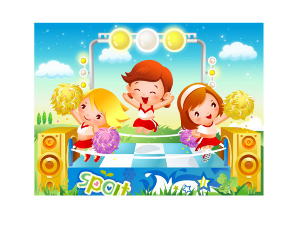 Children's dance motion vector material