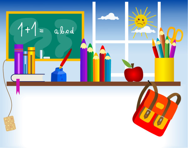 Stationery, blackboard, ink bottle, ink pens, books, school bags Vector