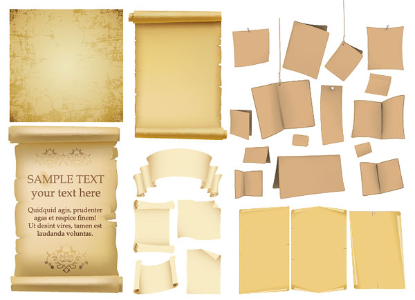 Old paper, kraft paper, old books of the vector material