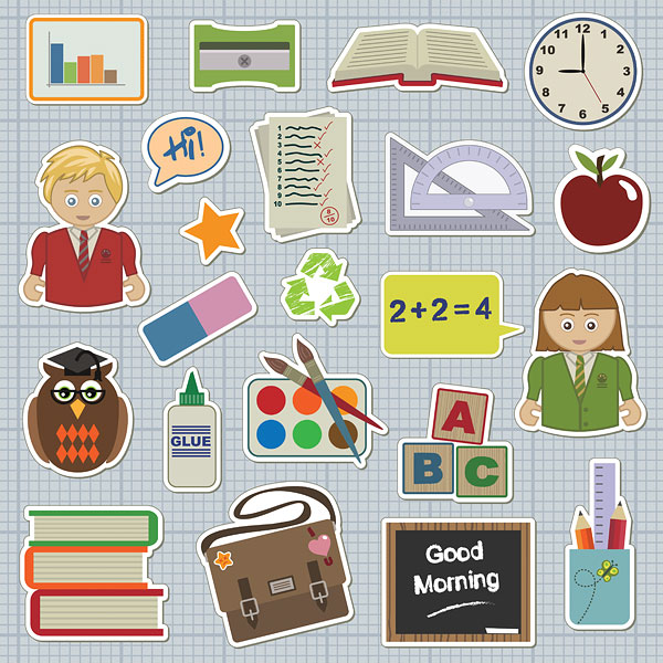 Students, books, rubber, glue, transcripts, stationery vector