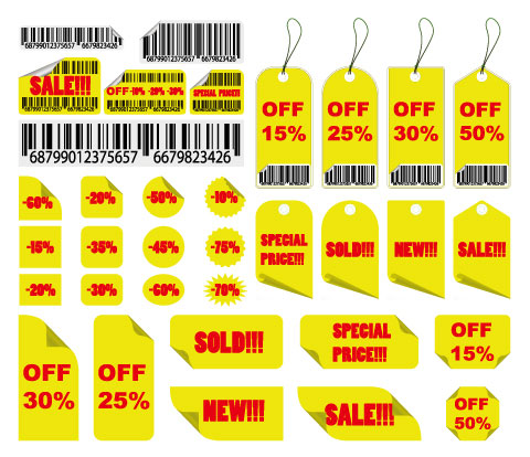 Yellow Sale Tag Vector material