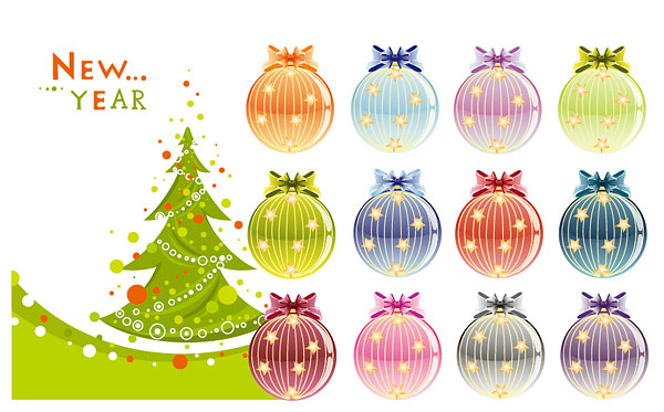 Christmas trees and decoration balls vector