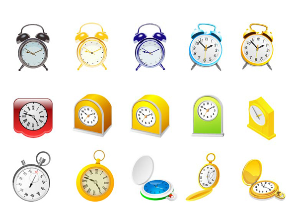 Alarm clock, clock and stopwatch vector