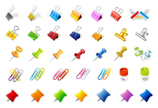 Clips and pins vector