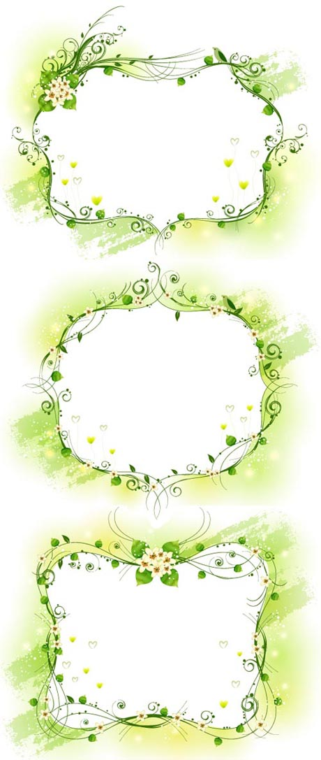 Elegant yellow-green decorative frame Vector
