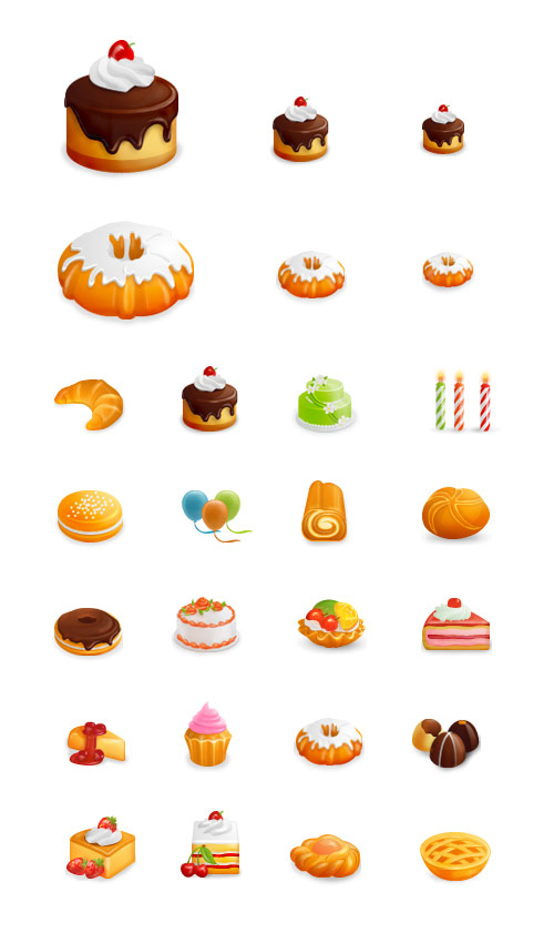 Western-style cakes Vector Icons