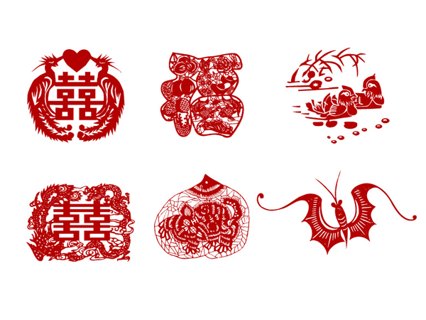 Traditional paper-cut vector material