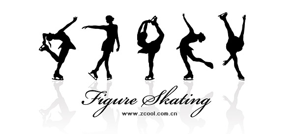 Women's skating action silhouette vector