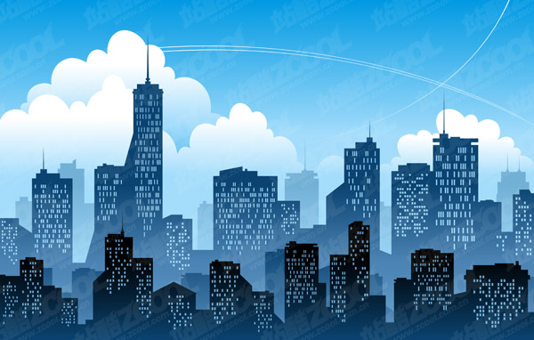 blue city silhouette vector download free vector psd flash