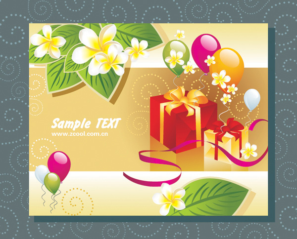 Balloon gift cards vector material leaves