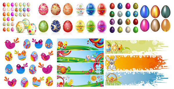Easter Eggs Feature Vector material