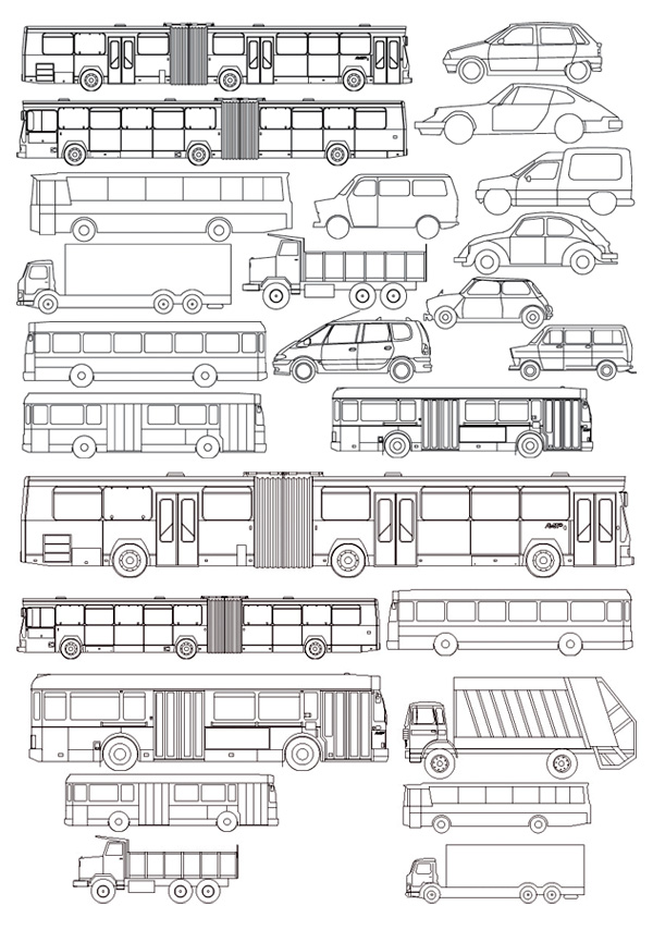Keyword Line Drawing Car Bus Truck Train Vector