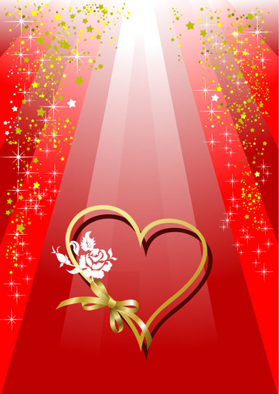 Valentine's day ribbon heart-shaped and colorful background vector of material