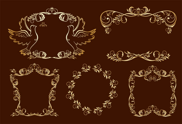 Exquisite aureate ou luxuriant lace vector material