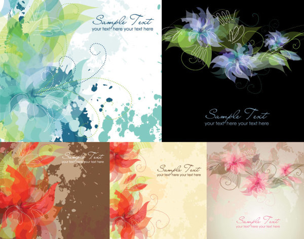 5 dreamy ink flowers vector of material