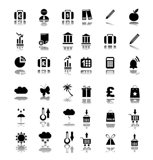 Concise black icon vector material