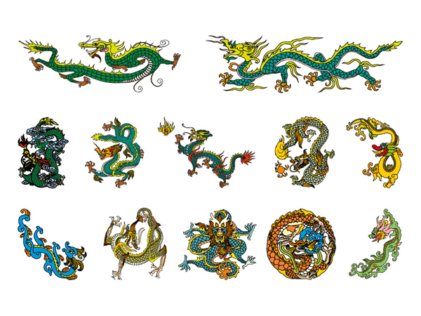 Chinese Classical Dragon Vector material of 4