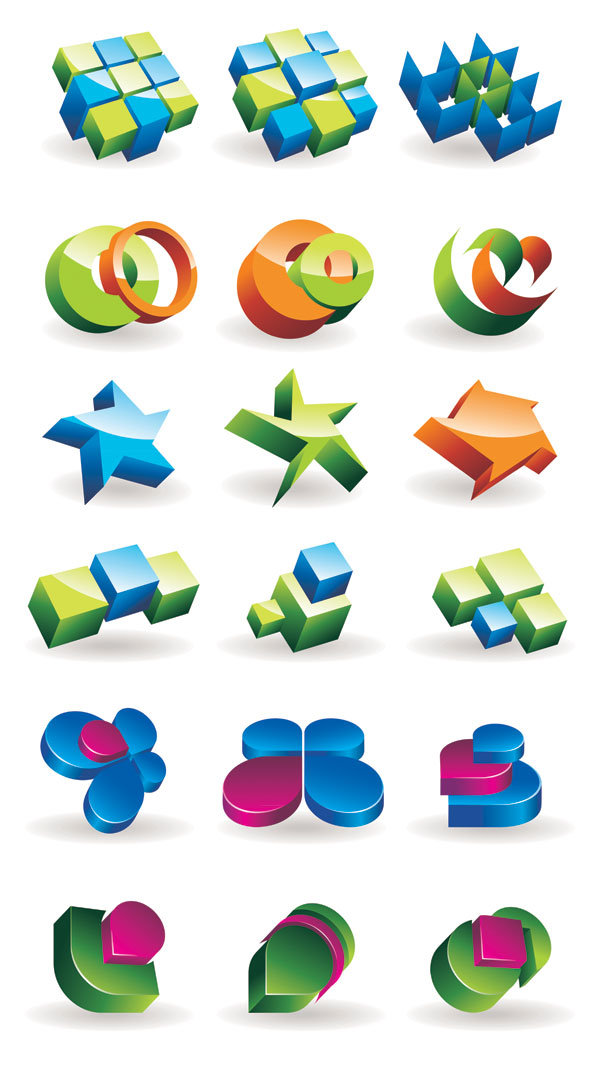 Three-dimensional graphics icon vector material